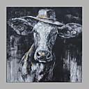 billiga Djurporträttmålningar-Hang målad oljemålning HANDMÅLAD - Abstrakt Popkonst Moderna Utan innerram / Valsad duk