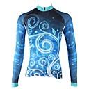 baratos Camisas Para Ciclismo-ILPALADINO Mulheres Manga Longa Camisa para Ciclismo Azul Escuro Floral Botânico Moto Camisa / Roupas Para Esporte Blusas Ciclismo de Montanha Ciclismo de Estrada Térmico / Quente Forro de Velocino