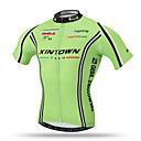 ราคาถูก ของเล่นแม่เหล็ก-XINTOWN สำหรับผู้ชาย แขนสั้น Cycling Jersey ใบไม้สีเขียวที่มีสามแฉก จักรยาน Tops ขี่จักรยานปีนเขา Road Cycling ระบายอากาศ แห้งเร็ว กระเป๋าหลัง กีฬา Terylene เสื้อผ้าถัก / ยืด / Sweat-wicking