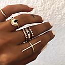 billiga Moderingar-Dam Knogring Ring Set Flerfingerring 6pcs Guld Silver Resin Legering Sektor damer Vintage Punk Gåva Dagligen Smycken Retro Sideways Cross Kors Häftig