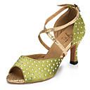 cheap Latin Shoes-Women's Dance Shoes Satin Latin Shoes Rhinestone Heel Flared Heel Customizable Green / Performance
