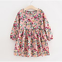 Χαμηλού Κόστους Φορέματα για κορίτσια-Παιδιά Κοριτσίστικα Βασικό Dusty Rose Φλοράλ Μακρυμάνικο Φόρεμα Ανθισμένο Ροζ