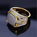 Χαμηλού Κόστους Αντρικά Δαχτυλίδια-Ανδρικά Δαχτυλίδι Δακτυλίδι με σφραγίδα Cubic Zirconia 1pc Χρυσό Χαλκός Στρας Geometric Shape Στυλάτο Πολυτέλεια Χιπ χοπ Γάμου Πάρτι Κοσμήματα Κλασσικό Απίθανο