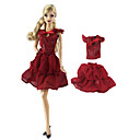 ราคาถูก อุปกรณ์ตุ๊กตา-กระโปรงตุ๊กตา ชุดเดรสและกระโปรงต่างๆ เสื้อ 2 pcs สำหรับ Barbie แฟชั่น สีแดงเข้ม ผ้าไม่ทอ เสื้อผ้า เสื้อผ้าฝ้าย Top / กระโปรง สำหรับ ของหญิงสาว ของเล่นตุ๊กตา