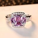 ราคาถูก แหวน-สำหรับผู้หญิง วงแหวน แหวนหมั้น Cubic Zirconia 1pc สีม่วง เงินสเตอร์ลิง Titanium Square วินเทจ สง่างาม งานแต่งงาน การหมั้น เครื่องประดับ สไตล์วินเทจ น่ารัก