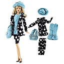 povoljno Dodaci za lutku-Suknja za lutke Haljine i suknje Odijela 5 pcs Za Barbie Moda Crna / plava Nonwoven Fabric Tkanina Pamučne tkanine 1 vrećica / Kaput / Top Za Djevojka je Doll igračkama