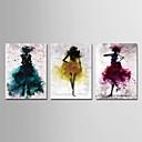 baratos Impressões-Estampado Estampados de Lonas Esticada - Abstrato Pessoas Modern 3 Painéis Art Prints