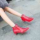 baratos Botas Femininas-Mulheres Fashion Boots Couro Sintético Outono & inverno Botas Salto Sabrina Dedo Apontado Botas Curtas / Ankle Branco / Preto / Vermelho