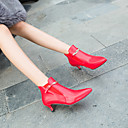 povoljno Ženske čizme-Žene Fashion Boots Eko koža Jesen zima Čizme Sitna potpetica Krakova Toe Čizme gležnjače / do gležnja Obala / Crn / Crvena