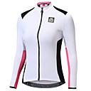 ราคาถูก เสื้อปั่นจักรยาน-SANTIC สำหรับผู้หญิง แขนยาว Cycling Jersey ขาว+ชมพู จักรยาน เสื้อแจ็คเก็ต เสื้อยืด Tops ขี่จักรยานปีนเขา Road Cycling รักษาให้อุ่น แห้งเร็ว Ultraviolet Resistant กีฬา เส้นใยสังเคราะห์ 100 / ขั้นสูง