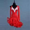 povoljno Odjeća za latino plesove-Latino ples Haljine Žene Trening Spandex / Til Kristali / Rhinestones Dugih rukava Visok Haljina