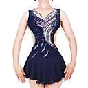 povoljno Plesni kostimi-Haljina za klizanje Žene Djevojčice Korcsolyázás Haljine Dark Blue Spandex Stretch Yarn Visoka elastičnost Profesionalac Natjecanje Odjeća za klizanje Ručno izrađen Moda Bez rukávů Klizanje na ledu