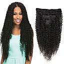 Χαμηλού Κόστους Αλογοουρές-Κλιπ Μέσα / Πάνω Επεκτάσεις ανθρώπινα μαλλιών Ίσιο Φυσικά μαλλιά Εξτένσιον από Ανθρώπινη Τρίχα Βραζιλιάνικη Φυσικό Μαύρο 7 τεμ Νέα άφιξη Για μαύρες γυναίκες Γυναικεία Μαύρο