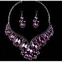 Χαμηλού Κόστους Σετ Κοσμημάτων-Γυναικεία Πολύχρωμο Cubic Zirconia Αμέθυστος High Crystal Κρεμαστά Σκουλαρίκια Κοσμήματα κολιέ Αχλάδι Μοντέρνο κυρίες Στυλάτο Πολυτέλεια Ρομαντικό Κομψό Στρας Σκουλαρίκια Κοσμήματα