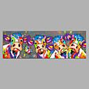 baratos Pinturas Abstratas-Pintura a Óleo Pintados à mão - Abstrato Arte Pop Modern Sem armação interna / Lona Laminada
