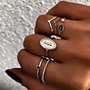 billige Fashion Rings-Dame Knokering Ring Set Multi-fingerring 6pcs Gull Sølv Harpiks Legering Oval damer Vintage Punk Gave Daglig Smykker Retro Sol Kul