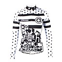ราคาถูก เสื้อปั่นจักรยาน-ILPALADINO สำหรับผู้หญิง แขนยาว Cycling Jersey ขาว ลายจุด สลับ จักรยาน เสื้อยืด Tops ขี่จักรยานปีนเขา Road Cycling รักษาให้อุ่น ผ้าซับในขนสัตว์ Ultraviolet Resistant กีฬา ฤดูหนาว Elastane ผ้าขนแกะ