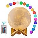 billige Dekor- og nattlys-1pc MOON / Globe 3D nattlys / Smart nattlys RGB + Hvit Usb Fjernstyrt / Mulighet for demping / Dekorasjon 5 V