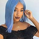 Χαμηλού Κόστους Συνθετικές περούκες με δαντέλα-Συνθετικές μπροστινές περούκες δαντέλας Ίσιο Σύντομο βαρίδι Δαντέλα Μπροστά Περούκα Κοντό Μπλε Συνθετικά μαλλιά 12 inch Γυναικεία Ρυθμιζόμενο Ανθεκτικό στη Ζέστη Μεσαίο καρέ Μπλε