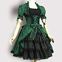 billiga Lolitaklänningar-Sweet Lolita Victoriansk Klänningar Flickor Dam Japanska Cosplay-kostymer Grön Vintage Puff Kortärmad Knälång