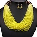 ราคาถูก ตุ้มหู-สำหรับผู้หญิง อะเมทิสต์สังเคราะห์ Drop Earrings สร้อยคอ กอง สุภาพสตรี อติพจน์ ต่างหู เครื่องประดับ สีเหลือง / แดง / ฟ้า สำหรับ เทศกาล 1set
