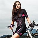 ราคาถูก เสื้อปั่นจักรยาน-SANTIC สำหรับผู้หญิง แขนสั้น Cycling Jersey สีดำ Leaf ลวดลายดอกไม้ / เกี่ยวกับพฤษศาสตร์ จักรยาน เสื้อยืด Tops ขี่จักรยานปีนเขา Road Cycling ระบายอากาศ Moisture Wicking กีฬา Elastane Terylene