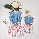 billige Sett med familieklær-Mamma og meg Aktiv Daglig Blomstret Ermeløs Kjole Hvit