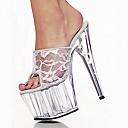 זול נעלי עקב לנשים-בגדי ריקוד נשים עקבים עקב סטילטו פתוח בבוהן חומרים בהתאמה אישית אביב / קיץ כחול / ורוד / שחור לבן / חתונה / מסיבה וערב / מסיבה וערב