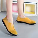 ราคาถูก รองเท้าแตะและรองเท้าโลฟเฟอร์สำหรับผู้หญิง-สำหรับผู้หญิง หนัง ฤดูร้อนฤดูใบไม้ผลิ ไม่เป็นทางการ รองเท้าส้นเตี้ยทำมาจากหนังและรองเท้าสวมแบบไม่มีเชือก ส้นแบน ปลายกลม สีเหลือง / สีบานเย็น / ไวน์ / ลายบล็อคสี