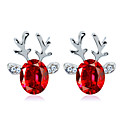 cheap Earrings-Women's Crystal Earrings Solitaire Elk Ladies Simple European Fashion Earrings Jewelry Red / Blue / Light Pink For Christmas Daily 1 Pair