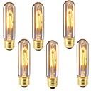 ราคาถูก หลอดไฟแบบไส้-6 ชิ้น 40 W E26 / E27 T10 ขาวนวล 2200-2700 k เรทโทร / หรี่แสงได้ / ตกแต่ง หลอดไฟ Vintage Edison รุ่น Exand 220-240 V