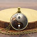 Χαμηλού Κόστους Κρεμαστά Κολιέ-Ανδρικά Κρεμαστά Κολιέ Ρετρό yin yang Βίντατζ Κινεζικό στυλ Steampunk Κινητικός Γυαλί Κράμα Χρυσό Μαύρο Ασημί 45+5 cm Κολιέ Κοσμήματα 1pc Για Μασκάρεμα Επαγγελματική