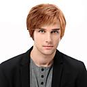 billiga Tupéer-Mänskligt hår Peruk Korta Rak Korta frisyrer 2019 Rak Sidodel Maskingjord Herr Svart Medium Rödbrun Rödlätt / Blekt Blont