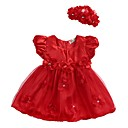 billige Babykjoler-Baby Jente Grunnleggende Daglig Blomstret Multi Layer / Netting / Lace Trim Ermeløs Normal Normal Ovenfor knéet Bomull Kjole Rød