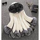 povoljno Perike s ljudskom kosom-Žene Zima Veći konfekcijski brojevi Dug Faux Fur Coat, Color block Bijela S kapuljačom Dugih rukava Umjetno krzno Obala / Crn