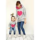 billige Sett med familieklær-Mamma og meg Grunnleggende Daglig Geometrisk Langermet Hettegenser og sweatshirt Grønn