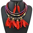 ราคาถูก สร้อยคอ-สำหรับผู้หญิง Drop Earrings สร้อยคอ ถัก สุภาพสตรี วินเทจ แอฟริกัน ขนนก ต่างหู เครื่องประดับ สีดำ / แดง / ฟ้า สำหรับ ไปเที่ยว เทศกาล 1set