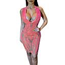 baratos Caixas de Som-Mulheres Bandagem Delgado Tubinho Vestido Decote em V Profundo Acima do Joelho / Sexy