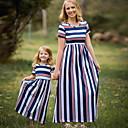 billige Sett med familieklær-Mamma og meg Aktiv Daglig Stripet Kortermet Kjole Blå