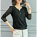 Χαμηλού Κόστους Είδη Ψησίματος-Γυναικεία Μπλούζα Μονόχρωμο Λαιμόκοψη V Μαύρο