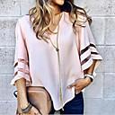 baratos Blocos de Montar-Mulheres Blusa Sólido Decote V Preto / luva do alargamento