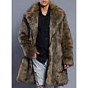 cheap Wedding Wraps-Men's Daily Basic Long Fur Coat, Solid Colored Turndown Long Sleeve Faux Fur / PU Brown