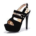 ราคาถูก รองเท้าแตะผู้หญิง-สำหรับผู้หญิง Synthetics ฤดูร้อน รองเท้าแตะ ส้น Stiletto เปิดนิ้ว เลื่อม / หมุดย้ำ / หัวเข็มขัด สีดำ / แดง / ฟ้า / พรรคและเย็น / ลายบล็อคสี