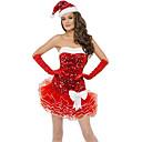 ราคาถูก ชุดซานตา&เดรสคริสต์มาส-ชุดฟอร์ม เครื่องแต่งกาย ชุดวันคริสต์มาส ซานต้าผ้า ผู้ใหญ่ มัธยม สำหรับผู้หญิง ชุดเดรสต่างๆ คริสมาสต์ วันคริสต์มาส วันฮาโลวีน เทศกาลคานาวาล Festival / Holiday สเปนเดก เส้นใยสังเคราะห์ แดง