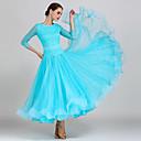 זול הלבשה לריקודים לטיניים-ריקודים סלוניים שמלות בגדי ריקוד נשים הדרכה / הצגה תחרה / אורגנזה תחרה שרוול 4\3 גבוה שמלה / חגורה