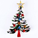 cheap Religious Jewelry-Women's Brooches Hollow Out Christmas Tree Ladies Simple Rhinestone Brooch Jewelry Gold For Christmas