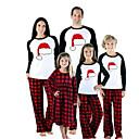 billige Sett med familieklær-Familie Look Grunnleggende Jul Daglig Dyr Jul Langermet Tøysett Rød