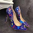 זול נעלי עקב לנשים-בגדי ריקוד נשים PU אביב יום יומי עקבים עקב סטילטו לבן / שחור / כחול