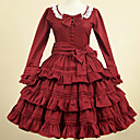 Χαμηλού Κόστους Φορέματα Λολίτα-Καλλιτεχνικό / Ρετρό Γλυκιά Λολίτα Φορέματα Κοριτσίστικα Γυναίκα Βαμβάκι Ιαπωνικά Κοστούμια Cosplay Κόκκινο Μονόχρωμο Πεπαλαιωμένο Πέταλο Μακρυμάνικο Μέχρι το γόνατο