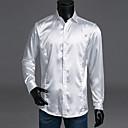 billige Kostymeparykk-Tynn Spredt krage Skjorte Herre - Ensfarget, Grunnleggende Luksus Gul / Langermet